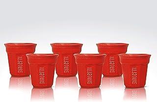 Bialetti Y0TZ503 Set 6 pièces Bicchierini, Céramique, Rouge, 6 Unité (Lot de 1)
