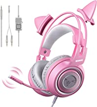SOMIC G951s Pink Stereo Gaming Headset with Mic for PS4, Xbox One, PC, Mobile Phone, 3.5MM Sound Detachable Cat Ear Headph...