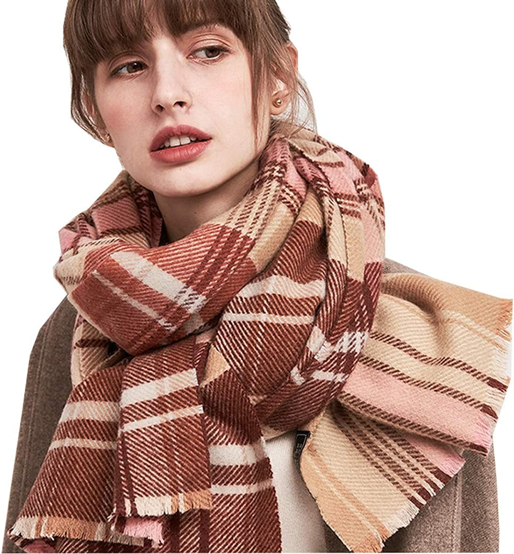 Women's Wool Scarf  Winter Plaid Shawl Warm Thick Scarf, Christmas Birthday GiftL20060cm (color   4)
