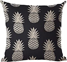 Aremazing Tropical Hawaiian Pineapple Cotton Linen Home Decor Pillowcase Throw Pillow Cushion Cover 18 x 18 Inches (Black & White Pineapple)
