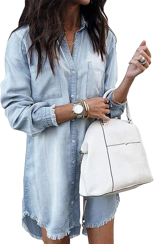 Daily bargain sale Women Denim Shirt Dresses Long Dress New sales Distressed Jean Sleeve Butt