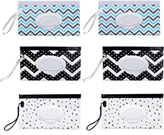 Fltaheroo 4 Pcs Portable Baby Wipes Dispenser Reusable Wet Wipe Pouches Eco Friendly Handy Travel Diaper Wipes Carrying Case