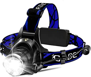 Headlamp, Super Bright LED Headlamps 18650 USB Rechargeable IPX4 Waterproof Flashlight with Zoomable Work Light, Hard Hat ...
