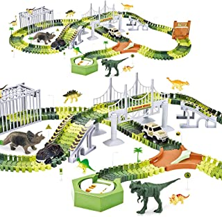 Finger Rock Dinosaur Toys Train Tracks Set Create a Road Race with 192 Pcs Flexible Tracks Playset Dinosaur Figures and Cool Dinosaur Car for Toddlers Kids Boys Girls Age 3 4 5 6 7 8 9