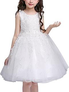 e34b266ffd1d2 Doveark Robe de Mariage Fillette Robe en Dentelle sans Manche Robe Fleur  Fille Multi-tulles