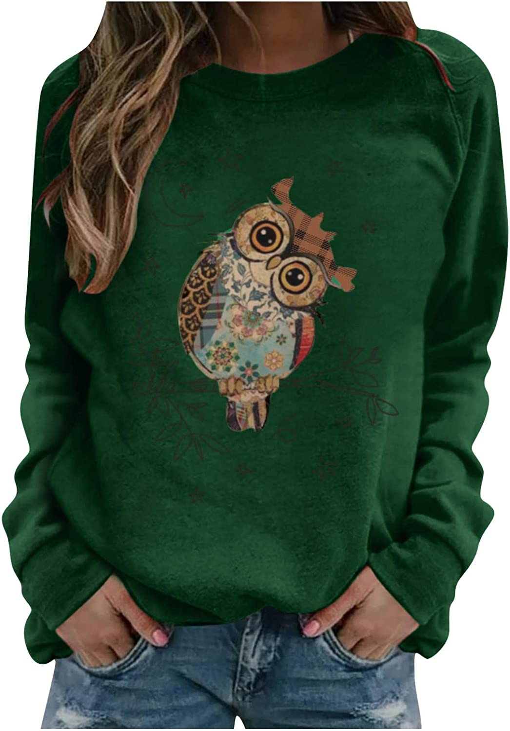 Women Cute Graphic Sweatshirt Funny Owl Print Tops Big Size Round Neck Blouse Long Sleeve Casual Pullover