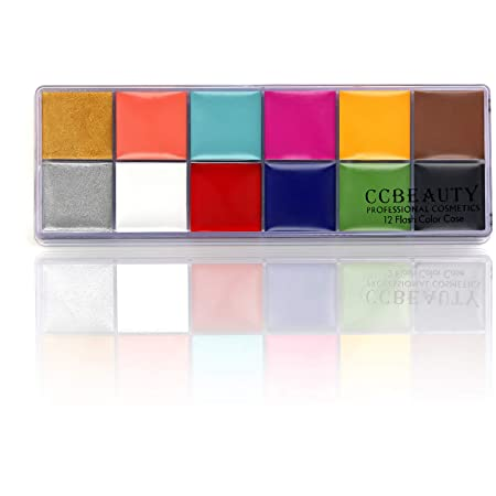 CCbeauty Professional Face Paint Oil Based 12 Colors Halloween Body Paint Palette Non Toxic Art Party Fancy Makeup,Deep