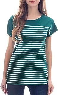 Smallshow Women's Tops Short Sleeve Striped Patchwork O-Neck Casual T Shirt