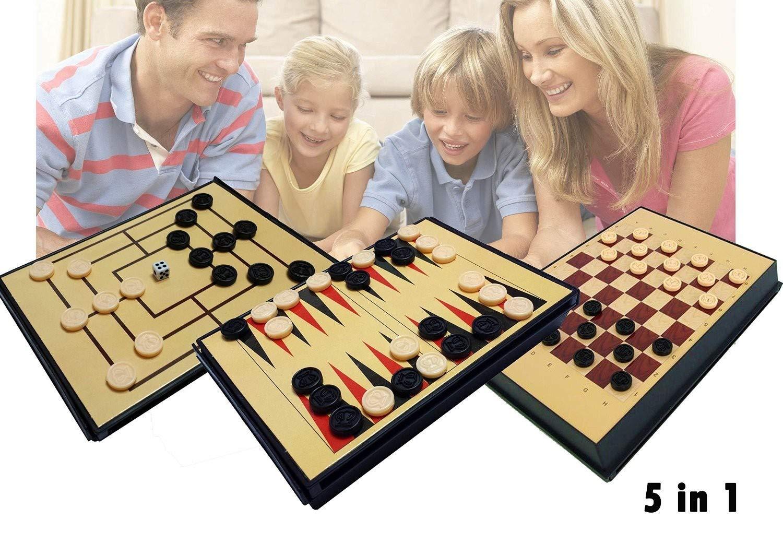 Juego de mesa 5 en 1 (Ajedrez / Damas / Backgammon / 3 en Raya): Amazon.es: Juguetes y juegos