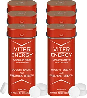 Viter Energy Caffeinated Mints - 40mg Caffeine & B-Vitamins Per Powerful Sugar Free Mint. Boost Energy, Focus & Fresh Breath. 2 Pieces Replace 1 Coffee (Cinnamon, 6-Pack)