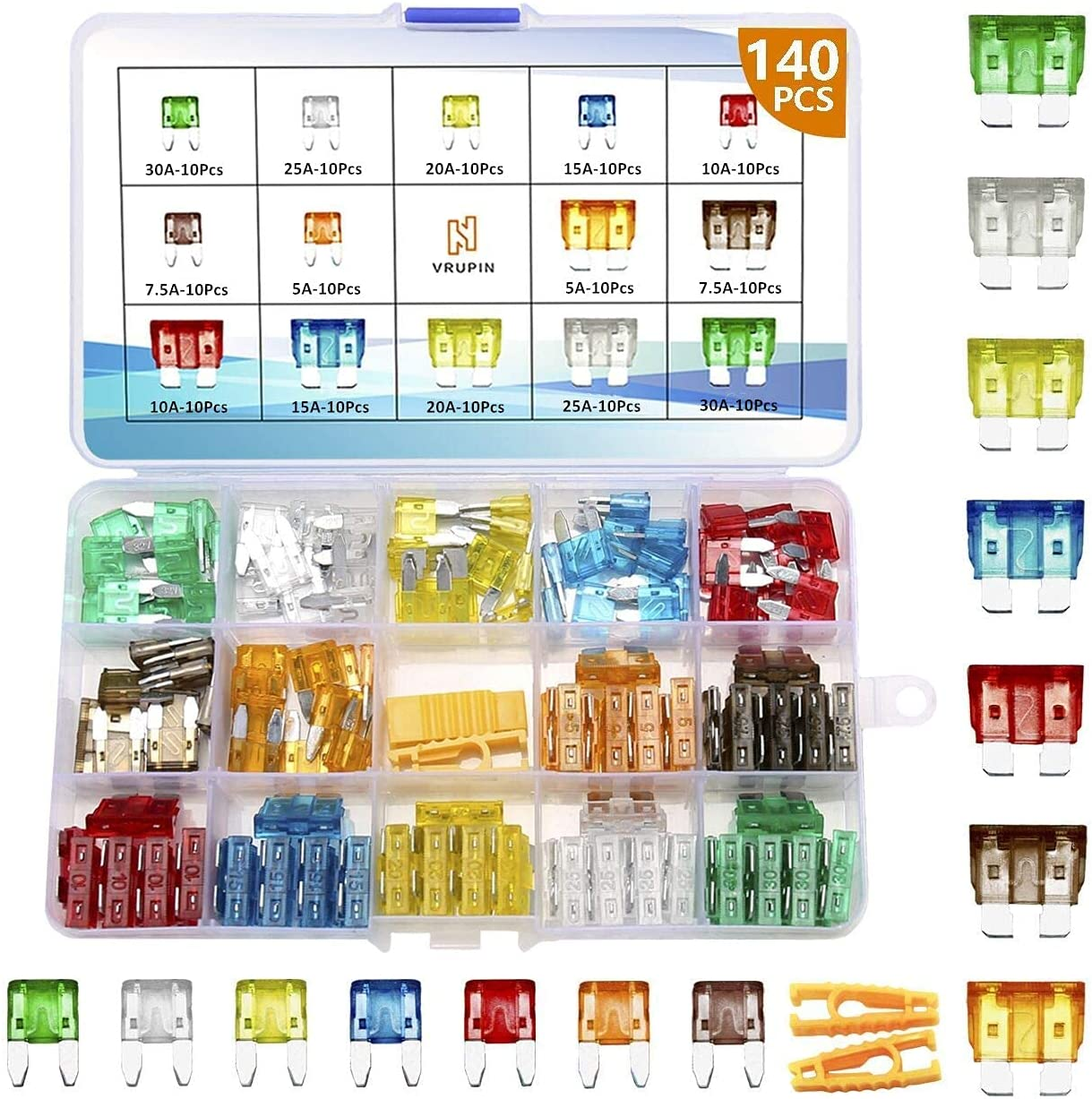 Vrupin 140Pcs -Car Fuses Assortment Kit,Car Fuse Kit, Blade-Type Automotive Fuses -Standard and Mini(5A/7.5A/10A/15A/20A/25A/30A),Replacement Fuses for Car/SUV/RV/Truck/Motorcycle/Boat