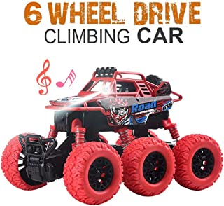 YesToys Pull Back Car Monster Trucks Toys 6 WD Off Road Vehicle with Lights and Sounds (Red)
