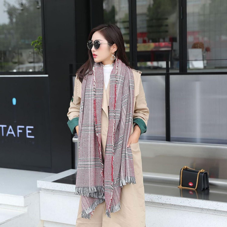 Lady's Shawl- Lattice Scarf Ladies Winter Warm Shawl Fashion Plaid Bib Fringed Thickened To Increase The Cloak 80200 CM Decoration ( color   2 )