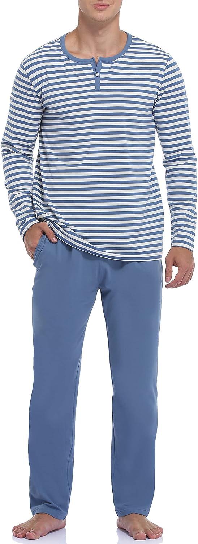 COLORFULLEAF Men's Cotton Pajama Set, Lightweight Long Sleeve Henley Top & Pajamas Pants, Sleepwear Lounge Set