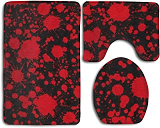 Classic Horror Blood Splatter Black 3-Piece Soft Bath Rug Set Includes Bathroom Mat Contour Rug Lid Toilet Cover Home Decorative Doormat