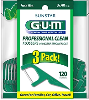GUM Professional CLEAN Flossers (40 Flossers, Pack of 3) Fresh Mint, Extra Strong Floss