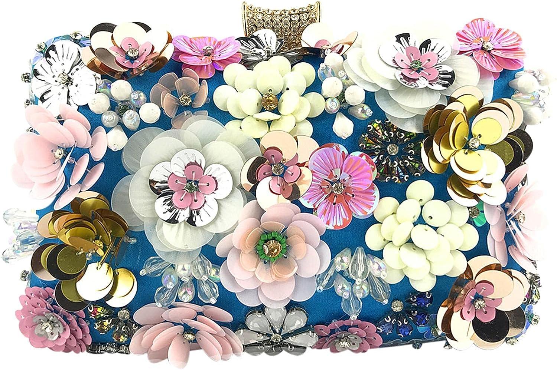 Ladies Evening Flower Handbag Colorful Floral Clutch Purse Evening Bag for Women Formal Party Handbag