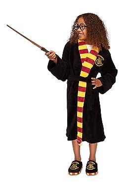 Harry Potter Dressing Gown Hogwarts Crest Kid's Black Bathrobe