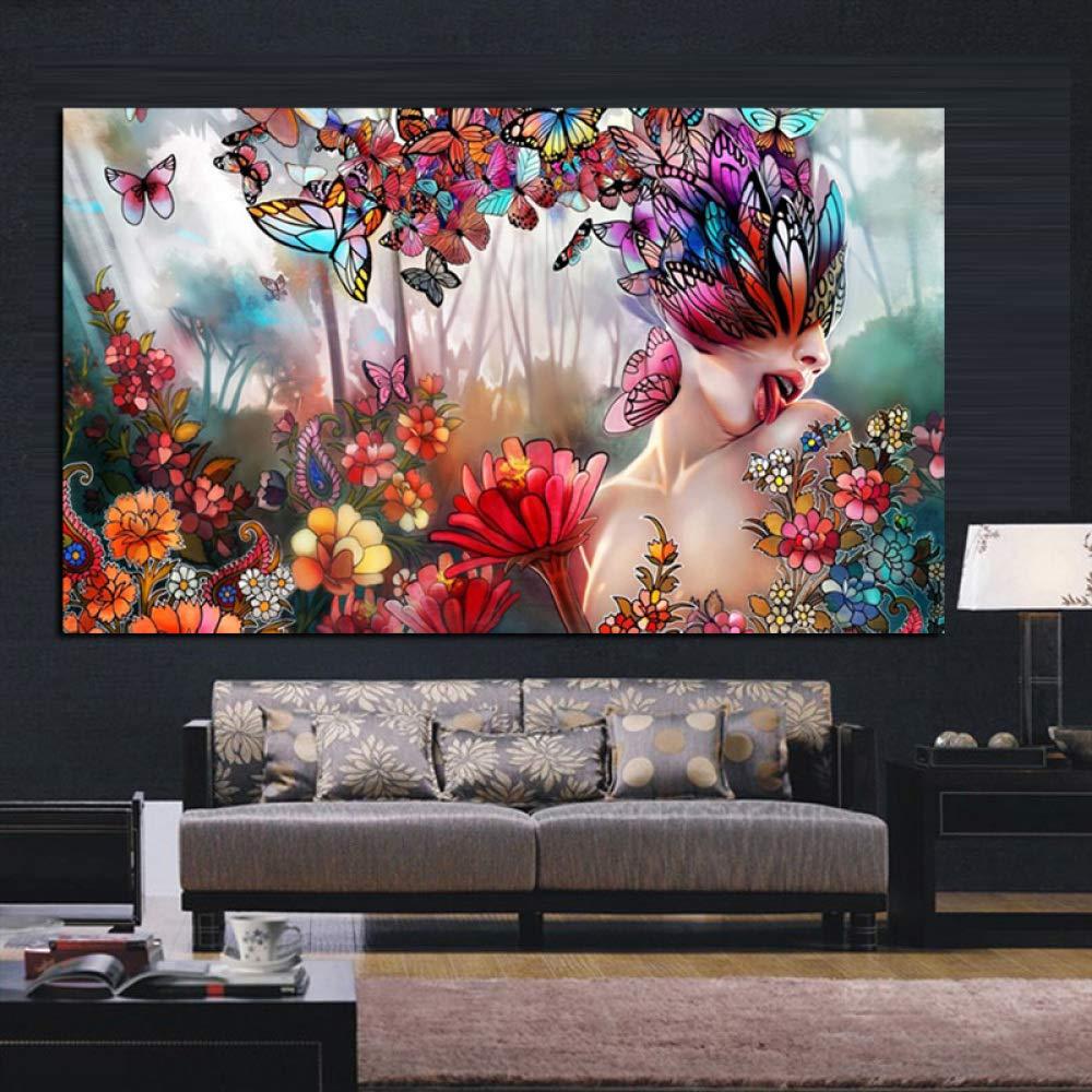 tzxdbh Impresión Abstracta Mariposa psicodélica Desnuda Mujer ...