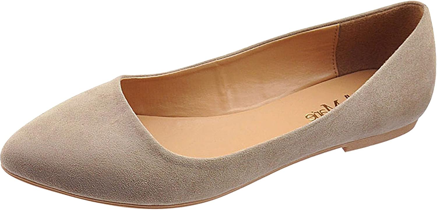 Bella Marie Women's Slip On Comfy Pointed Toe Ballet Flat