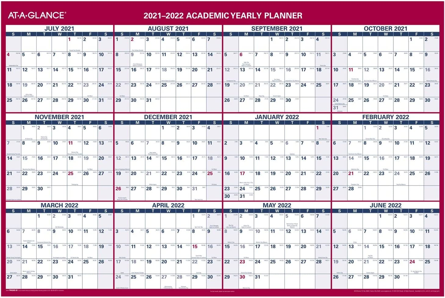Manufacturer OFFicial shop 2021-2022 Erasable Calendar Dry Erase 5% OFF Wall by Planner AT-A-GLAN