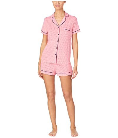 Kate Spade New York Modal Jersey Notch Collar Shorty PJ Set (Salmon Rose Pindot) Women