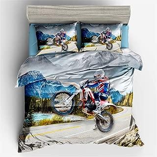 Helehome Decor Duvet Cover Set Queen Size Motorbike Motocross Cartoon Funny for Kids Boys 3 Piece Brushed Microfiber Fabric Print Bedding Set