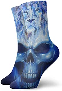 ASE, Calcetines cortos de algodón para adultos con calavera de llama azul, calcetines deportivos de algodón para hombres, mujeres, yoga, senderismo, ciclismo, correr, fútbol, deportes