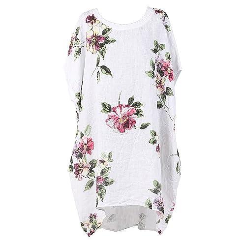 50c59795d6b4e New Ladies Italian Floral Linen Baggy Top Women Summer Lagenlook Top Plus  Sizes