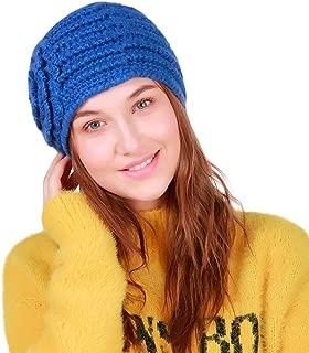Elogoog Women Girl Handmade Warm Flower Crochet Winter Wool Knit Hat Skull Braided Caps