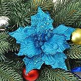 Asdomo - 10 colgantes para decoración de árbol de Navidad, 13 cm, con purpurina de colores con flocado para adornos de Navidad, bodas, decoraciones de fiesta, color azul
