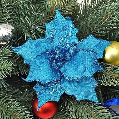 Asdomo - 10 colgantes para decoración de árbol de Navidad, 13 cm, con purpurina de colores con flocado para...