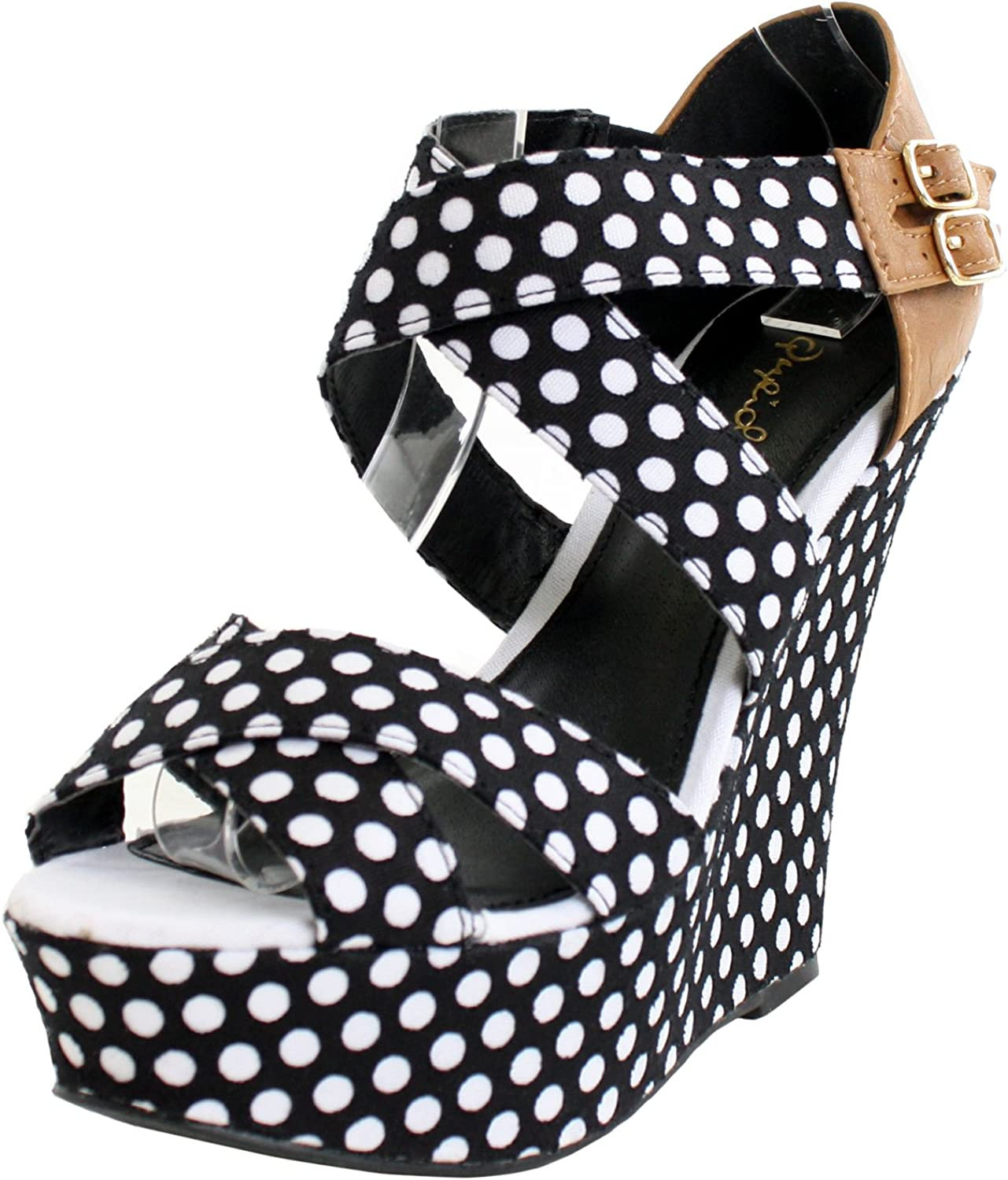 Qupid Women's Finder Limited price Open Sandals Max 57% OFF Toe Wedge