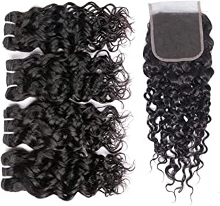 Brazilian Water Wave Bundles with Closure 100% Virgin Wet and Wavy Human hair Weave Bundles with Closure Free Part 9A Ocean Wave Human Hair Natural Color (10 10 12 12+10)