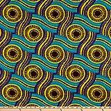 Shawn Pahwa African Ankara Print DTY Brushed Olothando Teal/Yellow, Fabric by the Yard