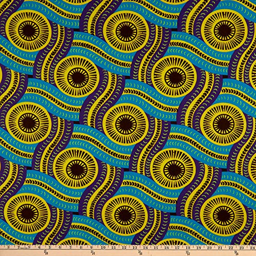 Shawn Pahwa African Print DTY Brushed Olothando Fabric, Teal/Yellow, Fabric By The Yard