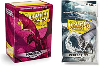Dragon Shield Bundle: Matte Magenta 100 Count Standard Size Deck Protector Sleeves + 100 Count Clear Perfect Fit Inner Card Sleeves