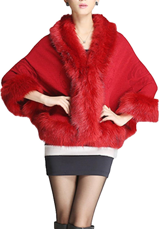 Women Ladies Girls Cape Coat Faux Fur Knitwear Pounch Cloak Shawl (maroon)