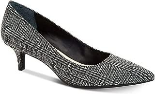 Alfani A35 Marshaal Pointed Toe Slip On Kitten Heels, Grey/Black Plaid