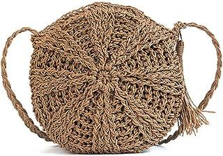 Beach Bag Straw Clutch Purse Fashion Straw Women'S Bag Round Woven Beach Bag Tassel Shoulder Messenger Bag Brownstraw Bag,Woven Bag