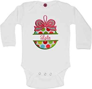 Personalized Christmas Ornament Onesie Bodysuit with Embroidered Name for Baby Girls by