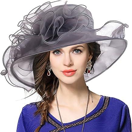 VECRY Women Floral Wedding Dress Tea Party Derby Racing Church Hat (Sheer-Grey)