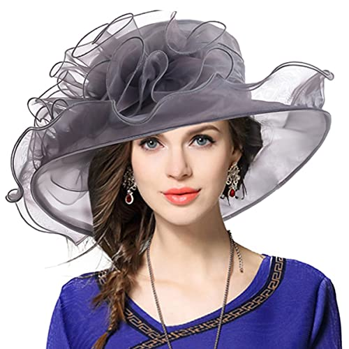 VECRY Women s Organza Church Derby Fascinator Bridal Wedding Hat 8c93b4bbeaad
