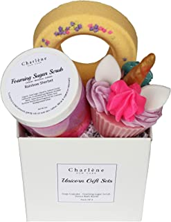 Charlene New York Unicorn Gift Set For Kids, Teens, Women, Best Birthday Gifts Ideas, Includes 3 Amazing Products: Sugar Scrub, Unicorn Bath Bomb & Soap Cupcake. Kids Safe. Perfect For Mother's Day