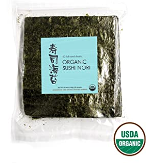 Sushi Nori Premium Roasted Seaweed with 9 Inches x 9 Inches Bamboo Mat, 4.94 ounces (50 Sheets) (50 Full Size Sheets)