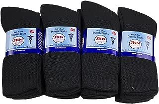 12 Pack Physician Approved Diabetic Circulatory Neuropathy Crew Socks for Men & Women by JKN (Black, 9-11)