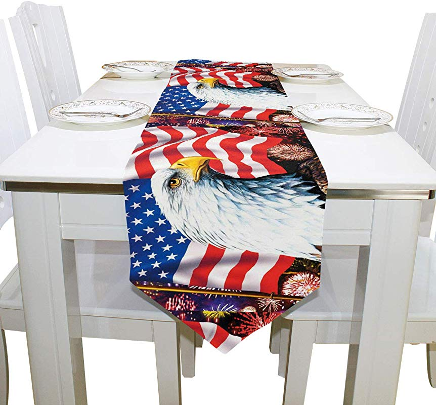 American Memorial Day Independence Long Table Runner 13x70 Inch Spring 4Th Of July Patriotic Eagle Veteran Rectangle Table Cloth Runner Placemat For Office Kitchen Dining Wedding Party Home Decor