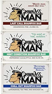 Grown Ass Man Co. - Solid Shampoo Bar Rich Lather 3 in 1: Hair, Beard and Body Wash - 4 ounce bar (Variety, 3-Pack)