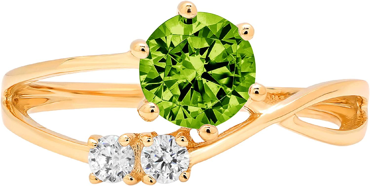 0.79ct Round Cut 3 stone love Solitaire Designer Genuine Natural Vivid Green Peridot Gemstone Ideal VVS1 Engagement Promise Statement Anniversary Bridal Wedding with accent ring Solid 14k Yellow Gold