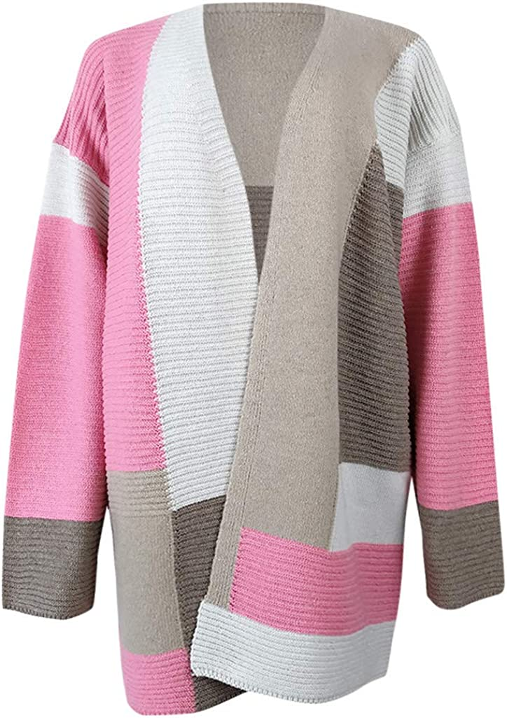 Gergeos Women Knitted Sweater Contrast Color Casual Cardigan Autumn Winter Knitted Coat Outwear for Ladies